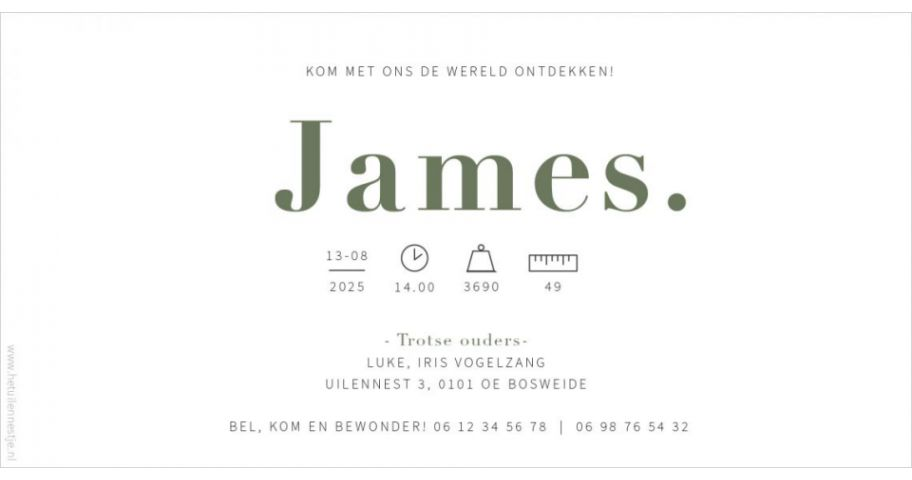 James Geboortekaartje wit leger groen army green simpel